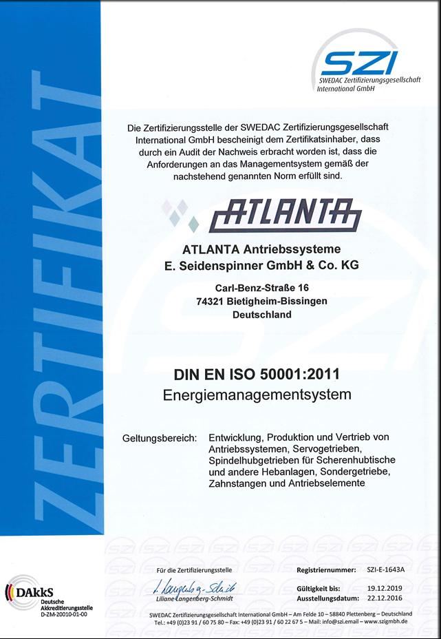 Zertifikat ISO 50001 deutsch